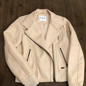 ❤️HOST PICK❤️GUESS FAUX-Leather beige MOTO JACKET